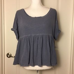 We The Free People Blue Gray Odyssey Tee XS